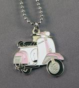Gift Boxed Metal Enamel Pendant Vespa MOD Scooterist Pink & White