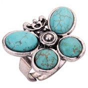Yazilind Jewellery Vintage Turquoise Tibetan Silver Striking Simplicity Butterfly Adjustable Ring for Women