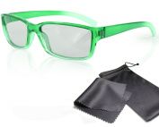 """3D Movie Glasses for Children - green / transparent - for RealD cinema use and passive 3D TVs such as LG """"Cinema 3D"""" and Philips """"Easy 3D""""- circularly polarised - with pouch"""