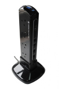 Masterplug SRPTU122PB USB Charging Surge Protected 2m Extension Lead Power Tower with 12 Sockets
