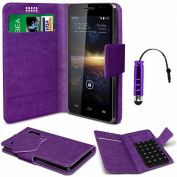 N4U Online® - Vodafone Smart 4 Turbo Purple PU Leather Suction Pad Wallet Case Cover & Mini Stylus Pen -