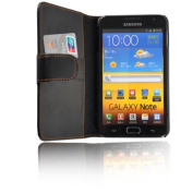 Black Wallet Leather Case for Samsung Galaxy Note GT-N7000 / i9220 with Card Holder + Free Screen Protector