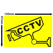 6 x CCTV - Video Recording Camera Security Warning Sticker-Self Adhesive Vinyl Sign-Black on Yellow