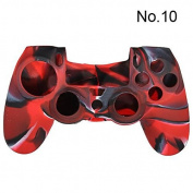 TOOGOO(R) Camouflage Protective Silicone Case Skin Cover For Ps4 Controller Camo Mod HOT - Black and red