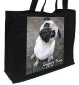 Pug Dog Cotton Shopping Bag, Black