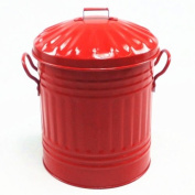 Red 15 Litre Steel Galvanised Dustbin