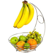 HIGH QUALITY 2 IN 1 CHROME BANANA HOOK HANGER TREE FRUIT BOWL BASKET STAND APPLE ORANGE