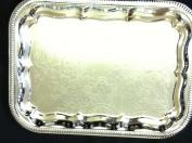 Serving Tray, Chrome Silver Rectangular Platter 41cm x 30cm