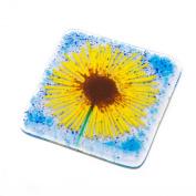 Sunflower fused glass art hand-made coaster