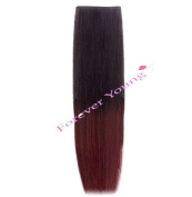 Forever Young 46cm Clip-in Dip Dye Ombre Remy Human Hair Extensions Natural Black to Plum Red
