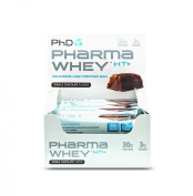 PhD Nutrition Pharma Whey HT+ Protein Bars, Double Chocolate, Pack of 12 x 75g