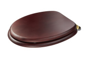 Croydex Douglas 'Sit Tight' Double Fixed, No More Movement Mahogany Effect Toilet Seat with Anti-Bacterial Treated Surface and Brass Hinges