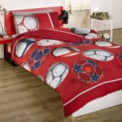 Childrens Boys Red Football Soccer Duvet Cover Quilt Bedding Set, Red, Single