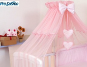 LUXURY CANOPY DRAPE +FREE STANING HOLDER BABY COT BED ROD MOSQUITO NET CANOPIES