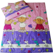 Babies-Island A 2 Piece Bedding Set Pillowcase+Duvet Cover For Baby Toddler To Fit Cot/Cot Bed - Funny Purple Sheep - Size : 100x135 cm