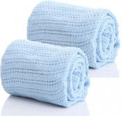 Pair of 100% Pure Cotton Cellular Baby Blanket for Pram Cot Bed Moses Basket Crib in Blue Pink or White