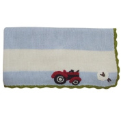 Powell Craft knitted pram blanket with Tractor and sheep theme