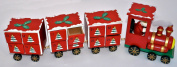 Wooden Red Christmas Advent Calendar Xmas Train Engine 3 Carriages Santa Driver