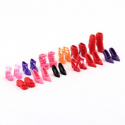 Colourful Assorted for Barbie Doll Shoes Different Styles Fashion 12 Pairs