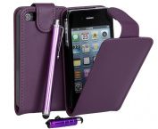 Connect Zone® Purple Premium PU Leather Flip Case Cover For iPhone 4/4G4/S + Screen Protector + Polishing Cloth + 1 Mini Touch Screen Stylus & 1 Tall Touch Screen Stylus