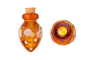 Tapered Orange Perfume Bottle Lampworked Glass Pendant