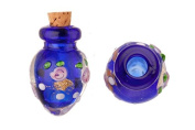 Tapered Blue Perfume Bottle Lampworked Glass Pendant