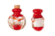Lebes Red Perfume Bottle Lampworked Glass Pendant