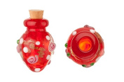 Tapered Red Perfume Bottle Lampworked Glass Pendant