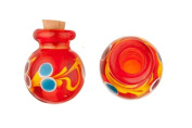 Aryballos Red Perfume Bottle Lampworked Glass Pendant