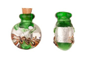 Lebes Green Perfume Bottle Lampworked Glass Pendant