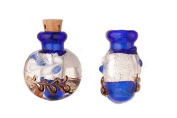 Lebes Blue Perfume Bottle Lampworked Glass Pendant