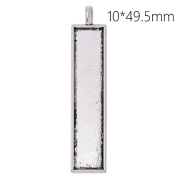 20pcs/lot- Antique Silver Plated Pendant Trays with 10x49.5mm Rectangle Blank Bezel