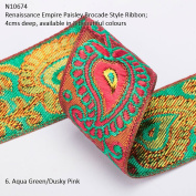 Neotrims Wide Sari Decorative Shimmer Ribbon Paisley Brocade 6cms Deep. Traditional 9 metres Reel for Sari Border. Also for Salwar Kameez, Crafts & Home Interior Décor. 4 cms Deep Border, Vibrant Bright with Metallic Gold Two Tone Base,8 Stunning colo ..