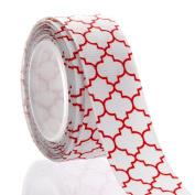 2.2cm Red Quatrefoil Grosgrain Ribbon