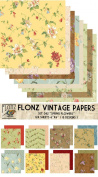 Paper Pack (24sh 15cm x 15cm ) Spring Flowers FLONZ Vintage Paper for Scrapbooking and Craft