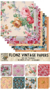 Paper Pack (18sh 25cm x 25cm ) Flower Bouquet FLONZ Vintage Paper for Scrapbooking and Craft