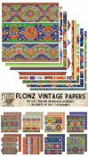 Paper Pack (18sh 25cm x 25cm ) Persian Arabesque Borders FLONZ Vintage Paper for Scrapbooking and Craft