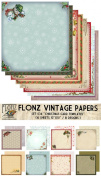 Paper Pack (18sh 25cm x 25cm ) Retro Christmas Cards Templates FLONZ Vintage Paper for Scrapbooking and Craft