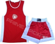 KIDS BOXING UNIFORM 2 PICES SET (TOP & SHORT) RED, 09 TILL 10 YEAR OLD KIDS