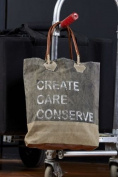 "Vintage Eco Inspired ""Create Care Conserve"" Recycled Canvas Bag M-2851"