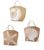 Two's Company Seaside Jute Tote - starfish, Spiral Shell or Scallop Shell - One item only