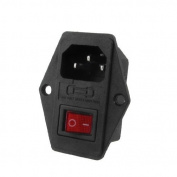 Water & Wood Black Plastic Housing AC 250V 15A 3 P C14 Power Socket w Rocker Switch
