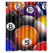 100% Polyester Waterproof Photo Of Smooth Billiards Ball Shower Curtain 150cm x 180cm Bathroom Decor,Shower Rings Included