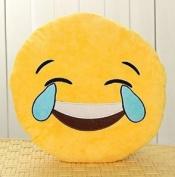 LILI123 32cm Emoji Smiley Emoticon Yellow Round Cushion Pillow Stuffed Plush Soft Toy