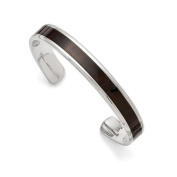 Stainless Steel Polished Black Wood Inlay Enamelled Bangle