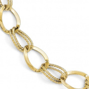 Leslie's 10k Yellow Gold Polished and Textured Link Bracelet