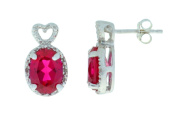 4 Ct Created Ruby & Diamond Oval Heart Stud Earrings .925 Sterling Silver Rhodium Finish