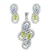 .925 Sterling Silver Jewellery Teardrop Lavender Peridot CZ Earrings Pendant Set 46cm Chain