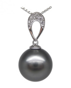 "Premium AAA+ 10.02mm Black Tahitian Pearl Pendant 14K White Gold 0.31g Free 18"" Silver Chain"