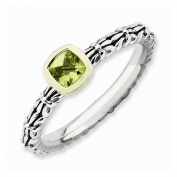 Best Designer Jewellery Sterling Silver & 14k Stackable Expressions Checker-cut Peridot Antiqued Ri